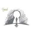 Hand drawn man standing in keyhole with lettering vector image vector image