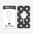 Hand drawn silhouettes sweet shop business cards