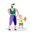 happy father son walking family recreation banner vector image vector image