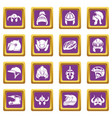 helmet icons set purple square vector image vector image