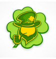 leprechaun with pipe on green vector image vector image