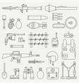 line flat military icon set army equipment vector image vector image
