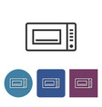 microwave line icon in different variants vector image vector image