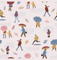 people in the rain autumn vector image vector image
