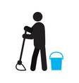 person mopping floor silhouette icon vector image