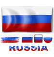 Russia flag in different designs vector image vector image