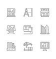 set line icons architecture vector image