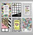 set of cards and banners in 80s-90s memphis style vector image vector image