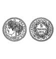 silver francs coin engraving vector image vector image
