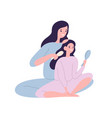 smiling mother brushing hair daughter vector image