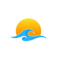 sun wave logo icon design vector image vector image