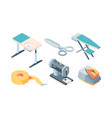 tailor accessories isometric set equipment sewing vector image