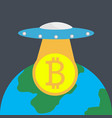 the ufo with bitcoin over the globe against dark vector image