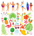 tourism and traveling surfers and people vacation vector image vector image