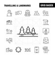 travelling and landmarks line icon for web print vector image vector image