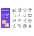 types materials line icons set vector image