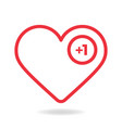 valentine red outline heart like counter comment vector image vector image