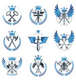 vintage weapon emblems set heraldic signs vintage vector image vector image