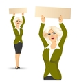 woman with blank empty signboard vector image vector image