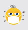 yellow emoji wearing a medical mask vector image vector image