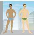 young man in his underwear full growth vector image vector image