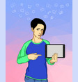young woman holding a tablet and communicating vector image vector image