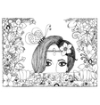 zentangl girl looks out of the vector image vector image
