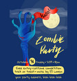 zombie party poster with zombie hand vector image vector image