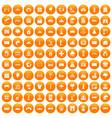 100 landscape element icons set orange