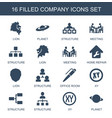 16 company icons vector image vector image