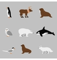 Arctic and antarctic animals set in flat vector image vector image