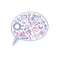 business doodle icons in speech bubble vector image vector image