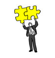 businessman holding puzzle over his head vector image vector image