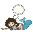 cartoon mermaid covered in tattoos with thought vector image vector image