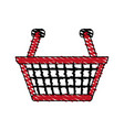 color crayon stripe cartoon shopping basket with vector image vector image