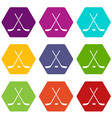 crossed hockey sticks and puck icon set color vector image vector image