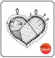Cushion for needles and pins in shape of heart vector image vector image
