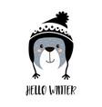 cute cartoon bear boy in winter hat vector image vector image