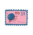 cute vintage postcard with octopus sea creature vector image vector image