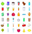 drink icons set cartoon style vector image vector image