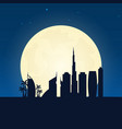 dubai silhouette of attraction travel banner with vector image vector image