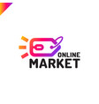 e store logo concept mouse click and shop tag vector image