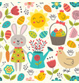 easter seamless pattern with rabbit and chicken vector image vector image