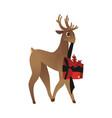 flat cute christmas hat reindeer character vector image