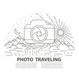 flat line style photo travel banner vector image vector image