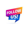 follow us banner on white background vector image
