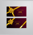 gift cards with gold bow and ribbon vector image