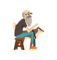 grandfather in sunglasses sitting on a chair the vector image vector image