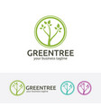 green tree logo design vector image vector image