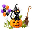 halloween card with black cat sitting on a pumpkin vector image vector image